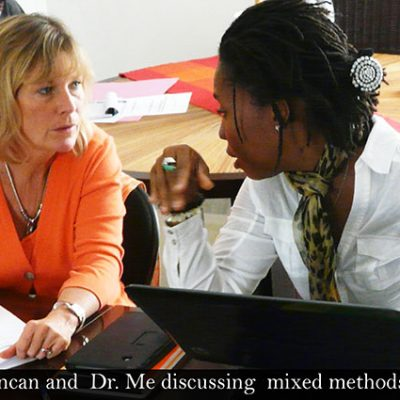 Prof. Shell-Duncan and Dr. Me discussing mixed methods research